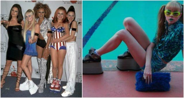 В 90-х годах очень была популярна обувь на огромной платформе, которую нравилось одинаково носить и