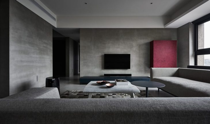 Wei Yi International  designed this minimalistic industrial apartment located in Tai