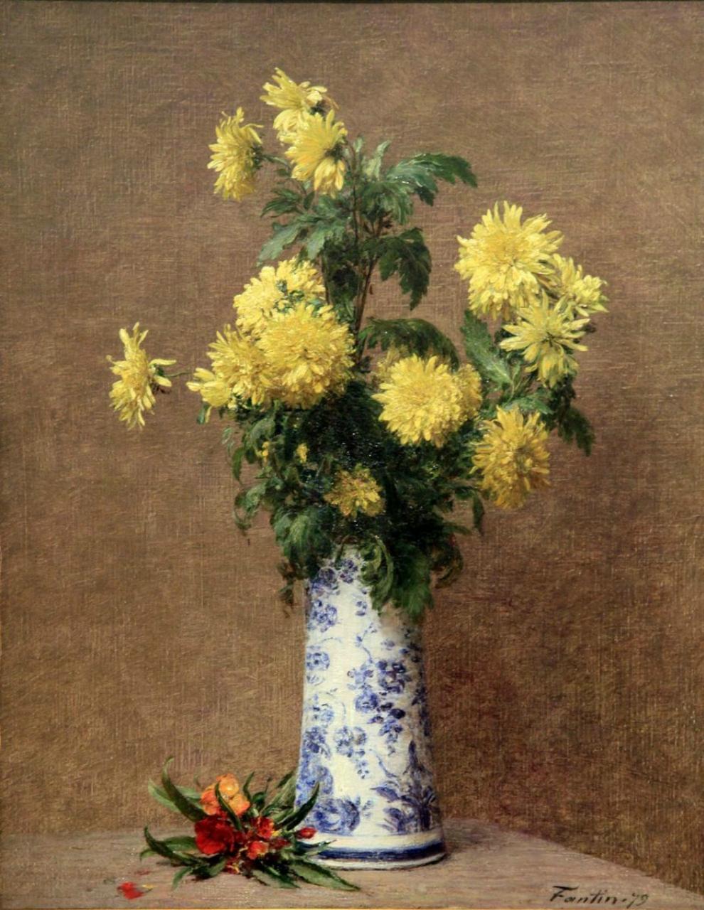 Анри Фантен-Латур. Желтые хризантемы.
