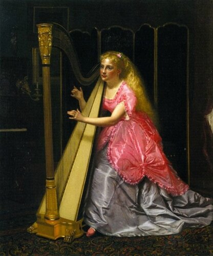 John George Brown (English, 1831-1913) The Harpist 1870 г. Palacio Real, Madrid