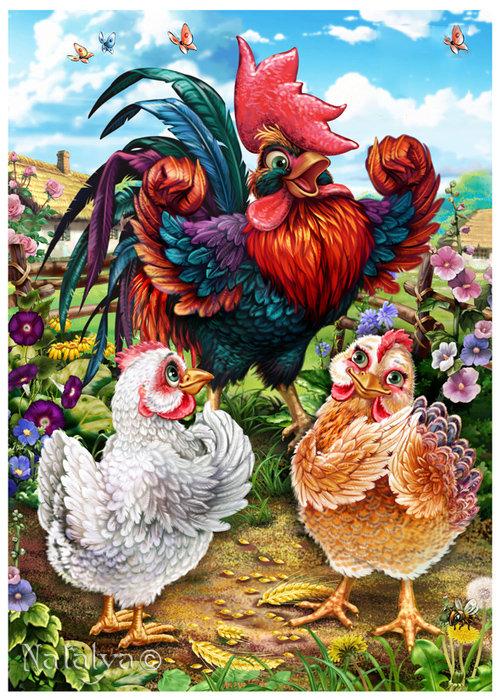 Всемирный день яйца. Петух и курочки