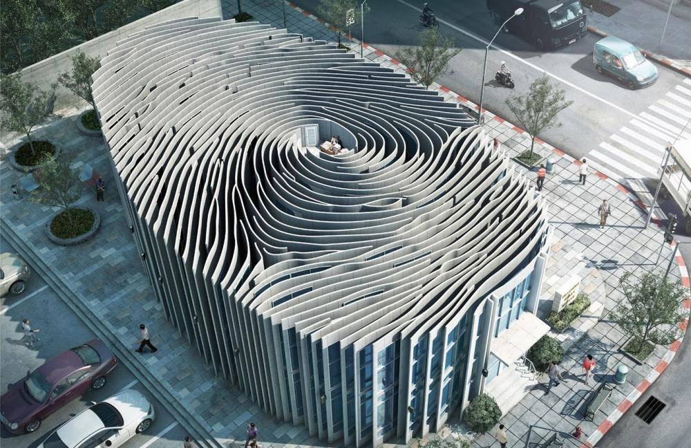 © funinventors     Проект здания вформе отпечатка пальца, Таиланд.