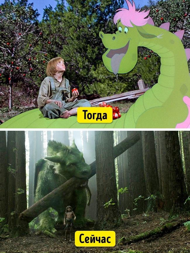 В оригинале «Дракон Пита» — мюзикл, который совмещал себе рисованную анимацию и игру живых актеров.