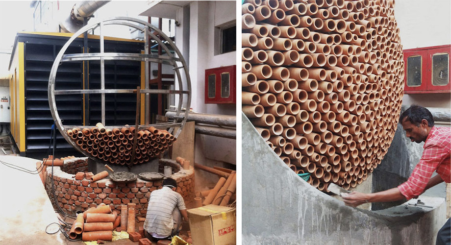 A Cascade of Water Over Terra Cotta Tubes Functions as a Beautiful Low-Energy Air Conditioner