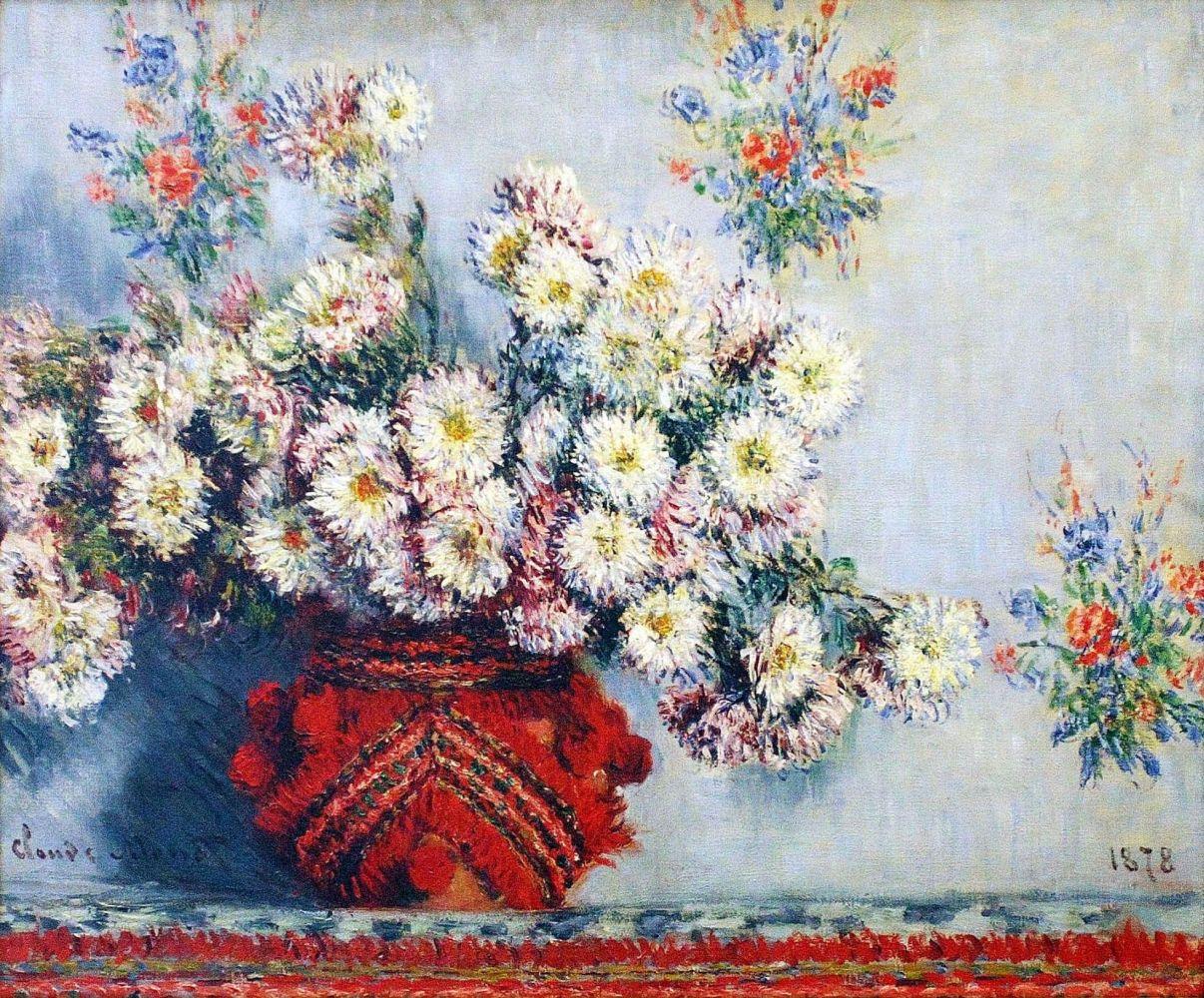 Клод Моне. Ваза с хризантемами.