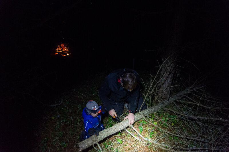 ребенок и папа пилят дерево в походе в лес в ноябре
