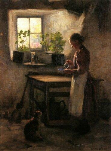 Henry John Dobson - Feeding the Cat