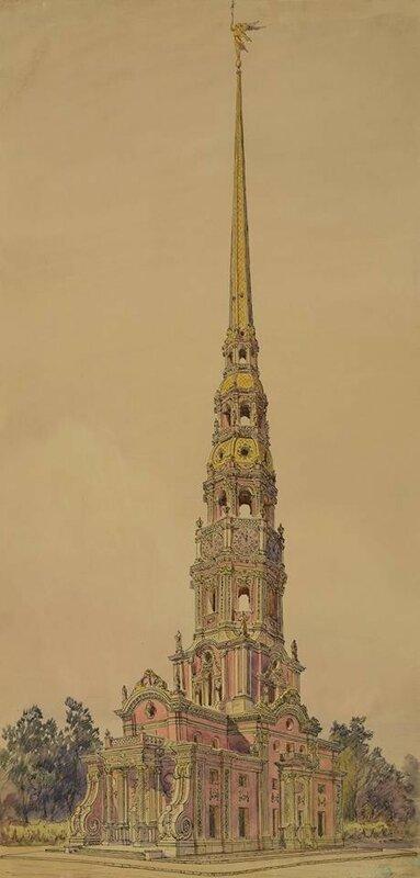 Реконструкция первоначального облика Меншиковой башни. 1955. К.К. Лопяло