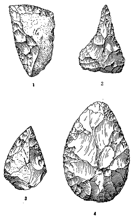 Орудия конца ангельского времени из пещеры Эт-Табун (Палестина): 1 — скребло; 2 — рубильце; 3 — остроконечник; 4 — ручное рубило.