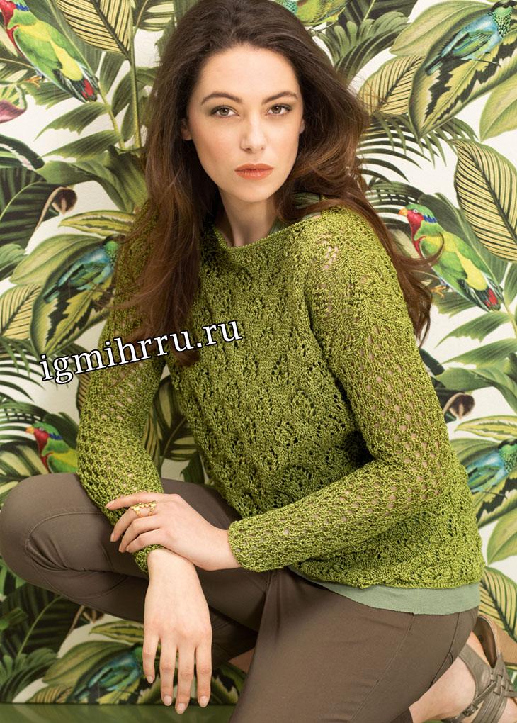 Зеленый ажурный пуловер с вырезом-лодочкой. Вязание спицами