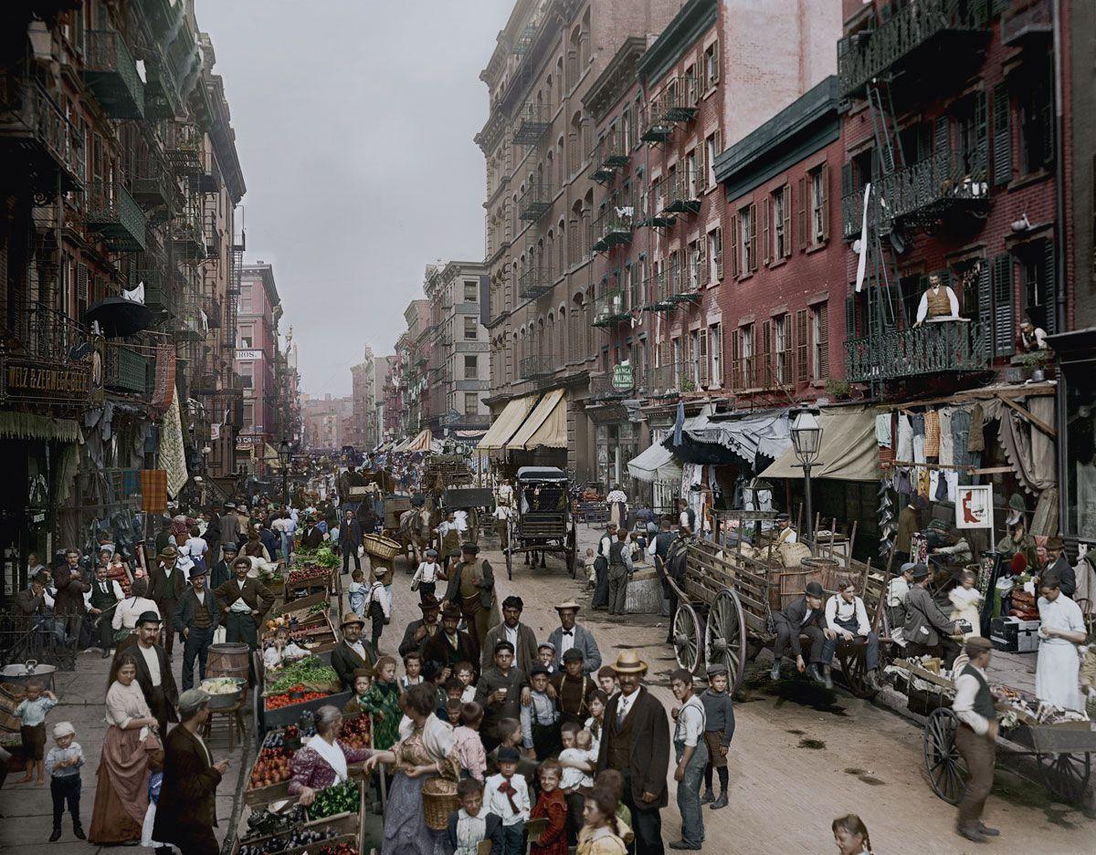 1900. Малберри-стрит (Манхэттен), центральная улица Маленькой Италии