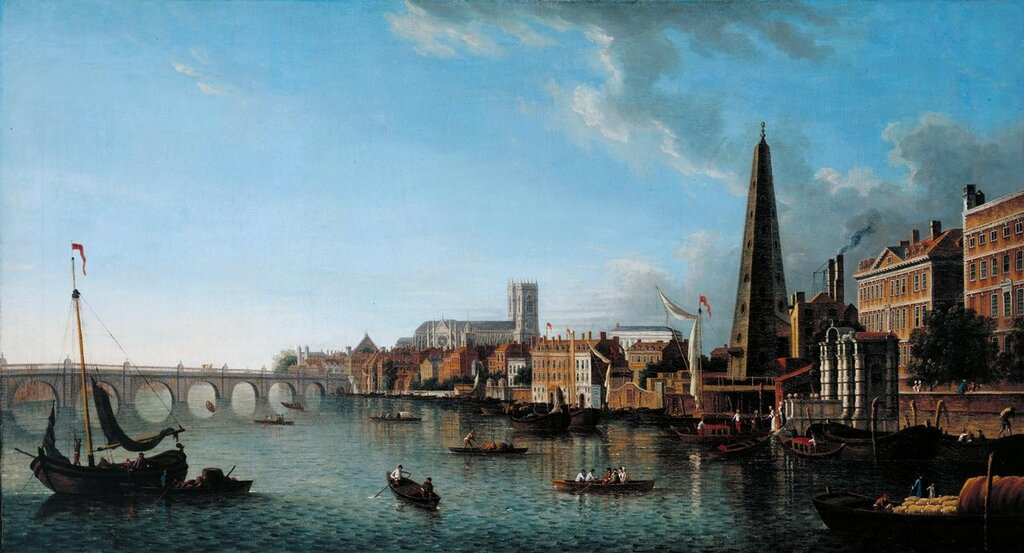 A View of the Thames with the York Buildings Water Tower ?c.1760-70 by Samuel Scott c.1702-1772