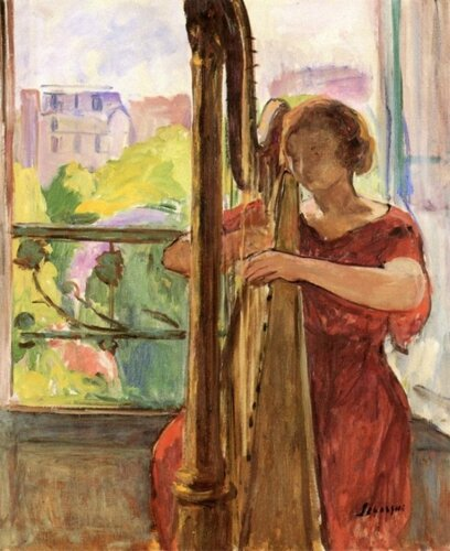 Henri Lebasque (French, 1865-1937) Harpist in front of the Window. 1921