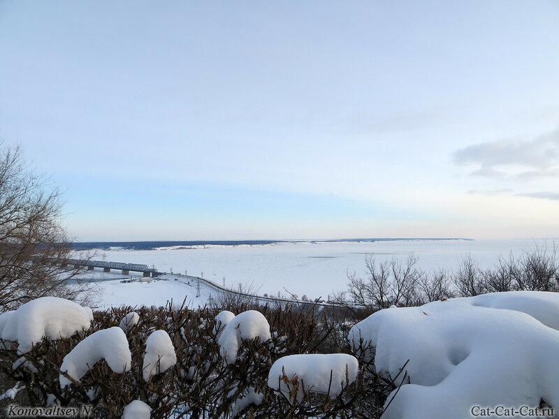 Губернаторский мост через Волгу, Ульяновск, зима 2018