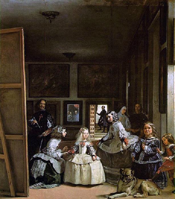 В знаменитой картине Диего Веласкеса «Менины» также есть зеркало, отражающее испанского короля Филип