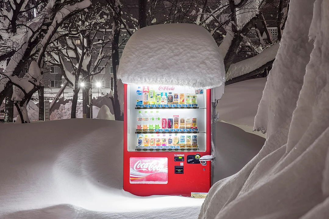 Snow Covered Vending Machines Illuminate a Frozen Hokkaido