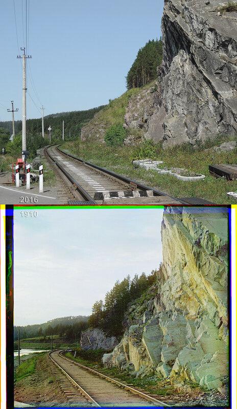 Скалы перед железнодорожным переездом по пути к Юрюзанскому заводу.