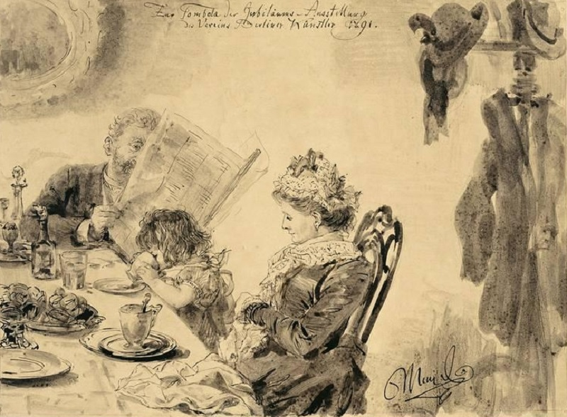 FAMILIE IM KAFFEEHAUS , 1891.