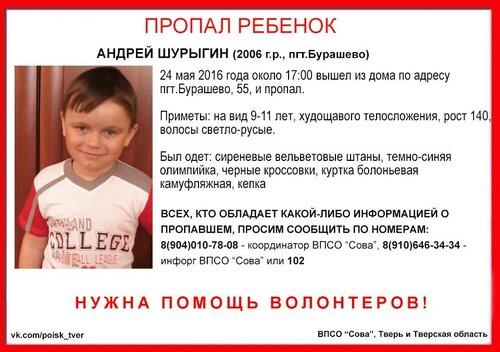 Волонтеры организуют поиски пропавшего Андрея Шурыгина