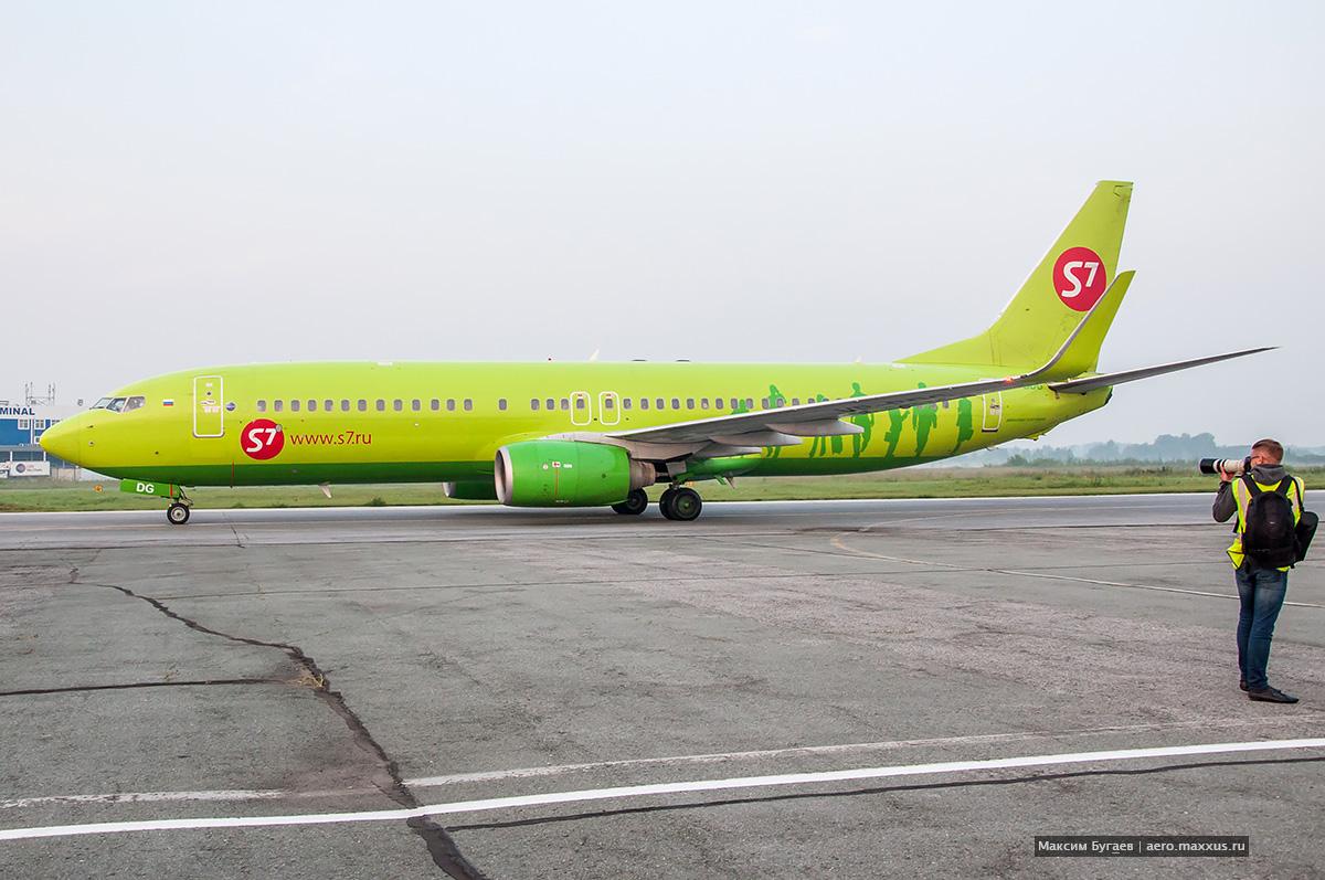 Boeing 737 «Глобуса» в Новосибирске. (с) Фото Максима Бугаева