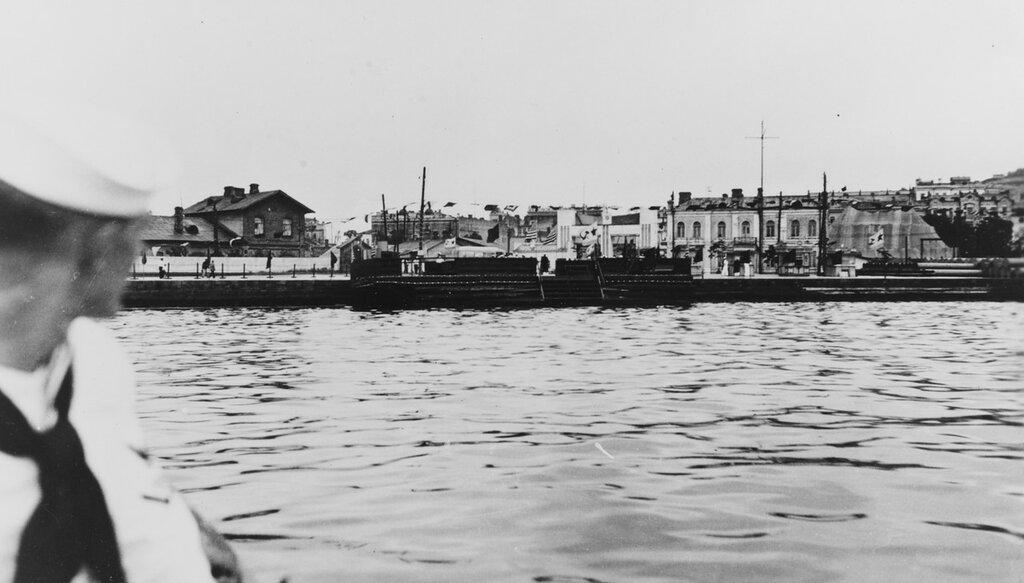 Vladivostok, U.S.S.R. Main waterfront landing, Vladivostok, circa late July, 1937, during U.S. squadron's visit to this port.