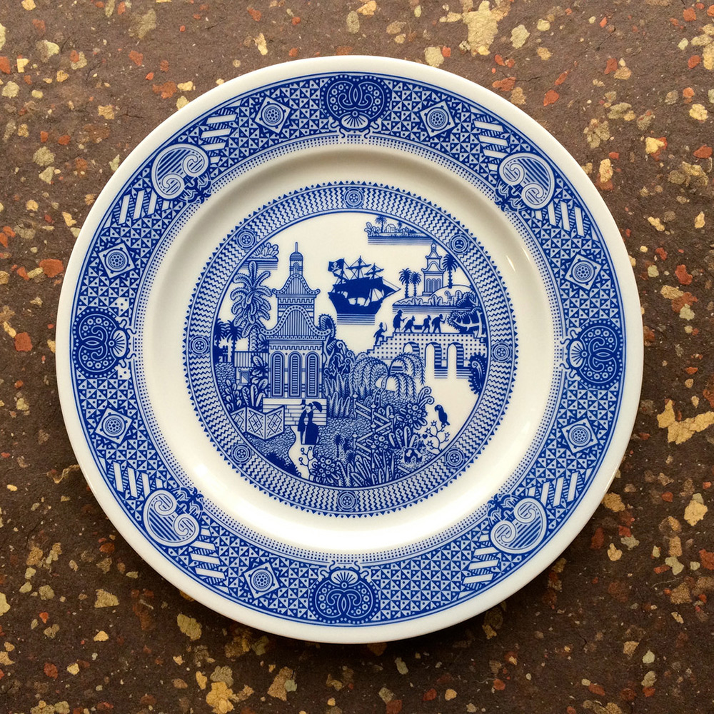 New Scenes of Fantasy and Disaster on Traditional Blue Porcelain Dinner Plates by Calamityware