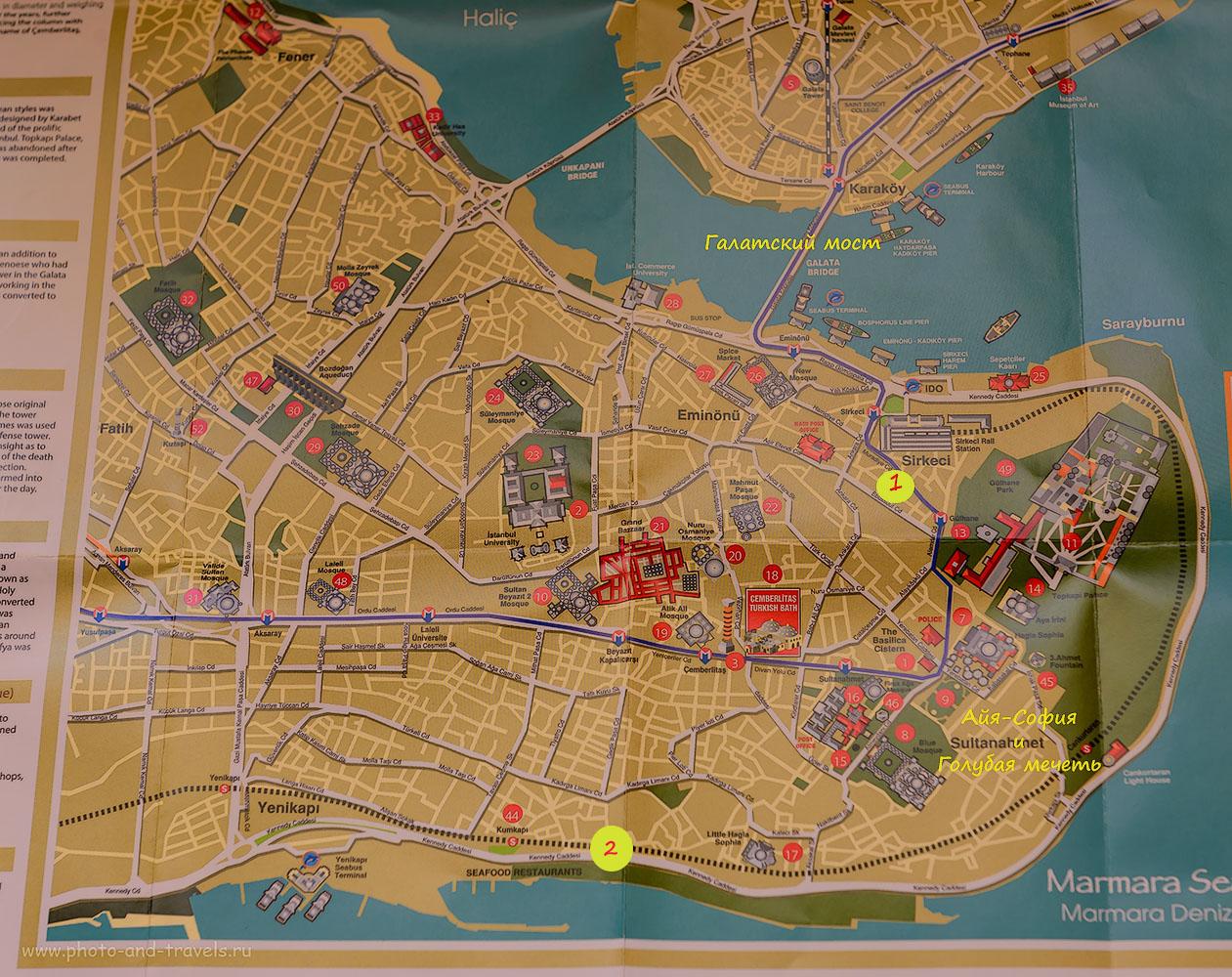 Рисунок 3. Стамбул. Достопримечательности. Карта расположения интересных мест для экскурсий в старом городе. Что можно посмотреть за несколько часов, за полдня и за неделю. Отчеты Туристов об отдыхе в Турции самостоятельно.