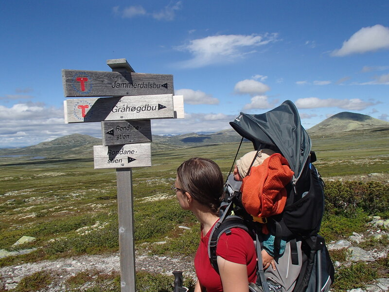 указатель на пешеходной тропе в парке Рондане (Rondane) в Норвегии