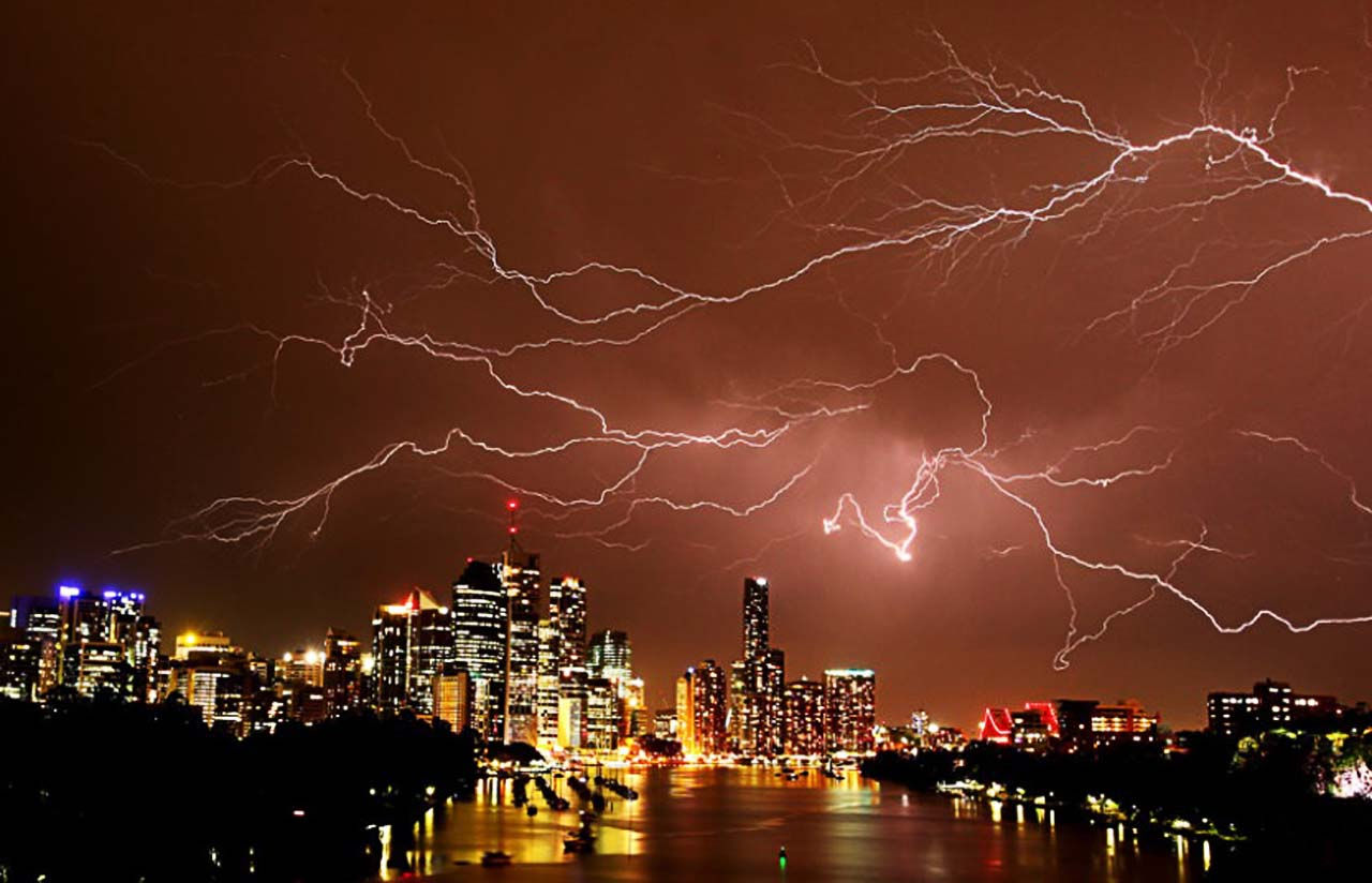 A lightning storm over Brisbane, Queensland, Australia lights up the night sky