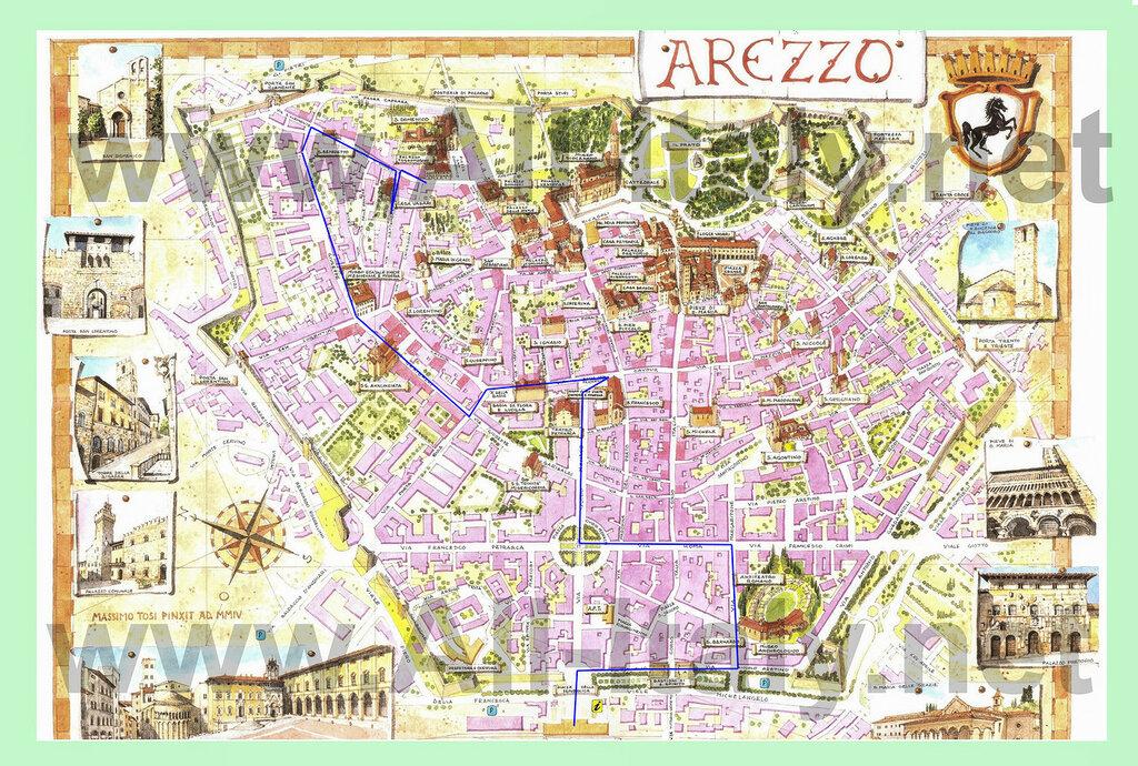 Карта достопримечательностей Ареццо