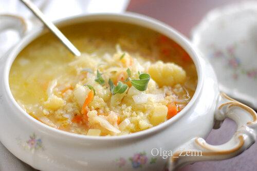 Овощной суп с золотой крупкой