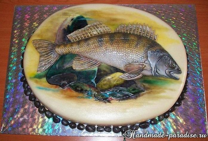 Торт РЫБА из сахарной мастики