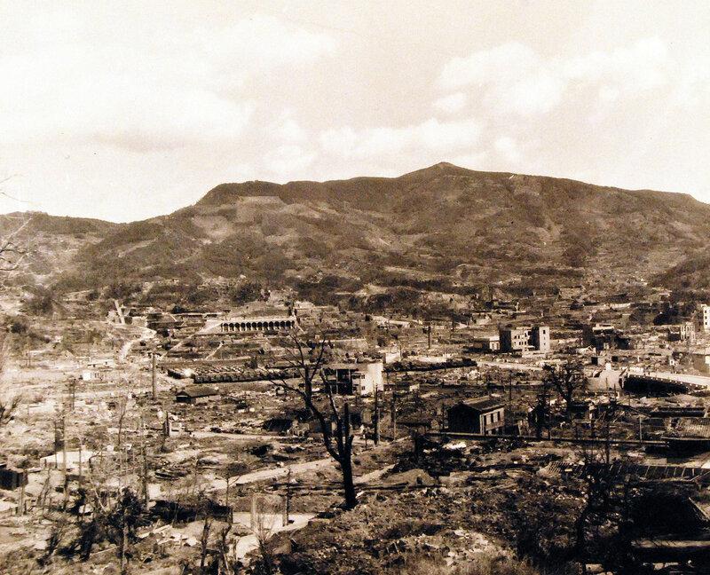 Scene overlooks bomb damage at Sasebo, Kyushu. October 19, 1945