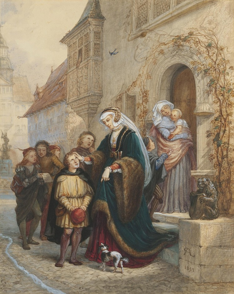 Charles Robert Leslie (1794-1859) watercolour, Luther singing at Eisenbach