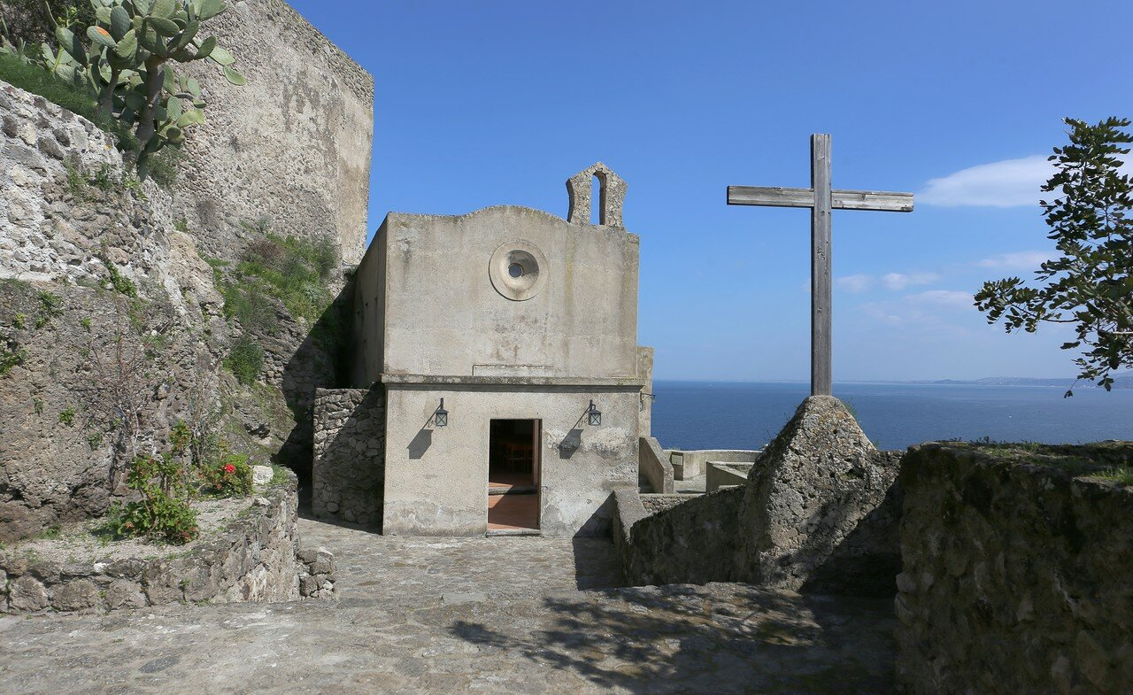 Ischia, the Aragonese castle. The Church of Santa Maria delle Grazie