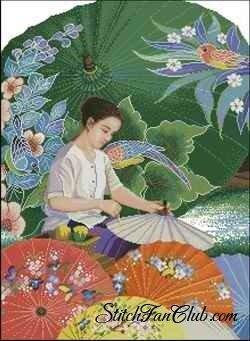 """Схема вышивки  """"Китайские зонтики """" ."""