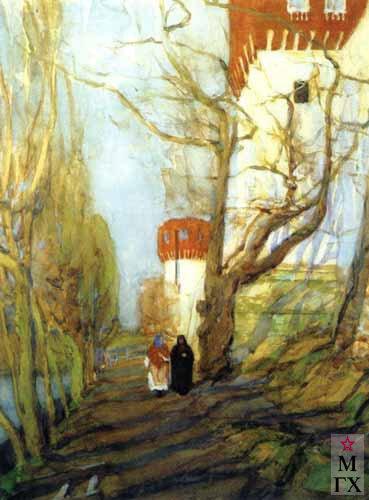Юон. У Новодевичьего монастыря весной. 1900. Акварель