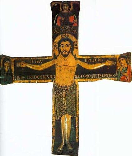 Распятие Христово. Икона середины XII в. Высота 200 см, ширина 195 см. Хорватия, г. Задар, собрание монастыря St. Francis.