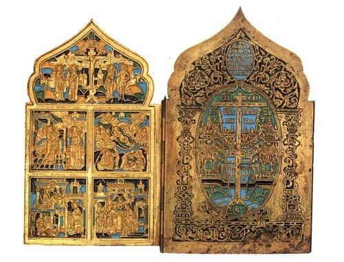 Складень четырехстворчатый Двунадесятые праздники и поклонение иконам Богоматери