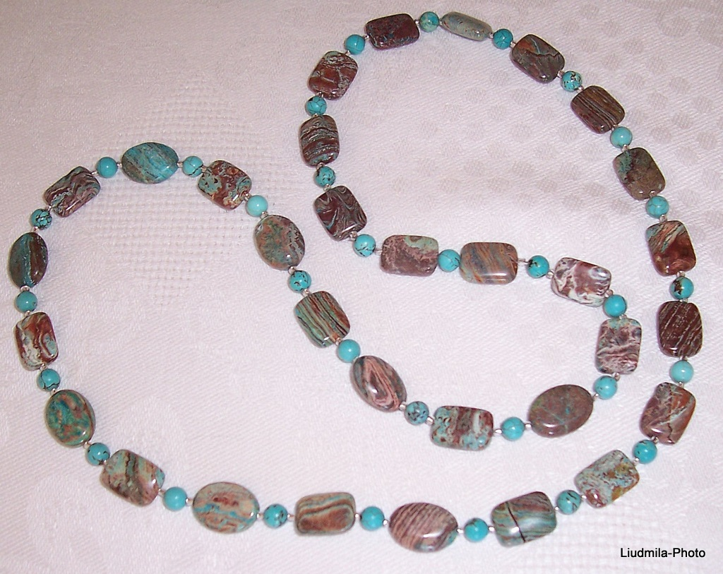 imperial tuquoise,howlite,necklace,gift,semiprecious stones,zodiac,jewelry