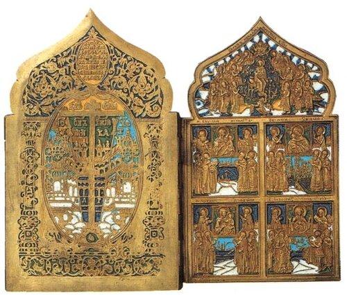 Складень Двунадесятые Праздники и поклонение иконам Богоматери XVIII век