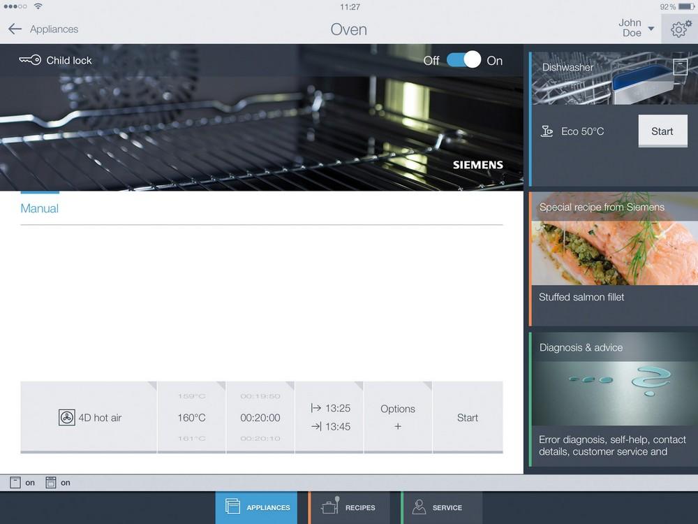 IPad управление, приложение для кухонной техники
