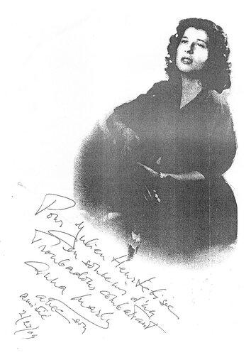 автограф Анны Марли французскому музыканту
