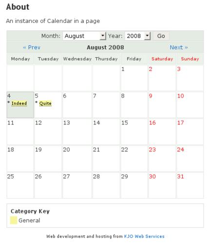 """в плагине для WordPress """"Calendar"""""""