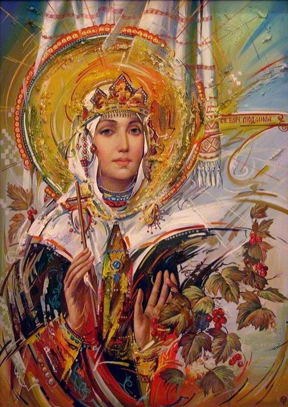 Она была родом из Сербии, дочь сербского князя.  Ее отдали в замужество чешскому князю Боривою.  В то время.
