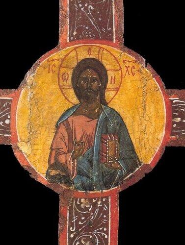 Крест выносной (запрестольный) Клеймо ХРИСТОС ВСЕДЕРЖИТЕЛЬ. Заозерье. Начало XVI в.