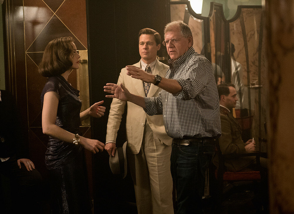 Marion Cotillard, Brad Pitt and Director Robert Zemeckis on the set of Allied from Paramount Pictures.