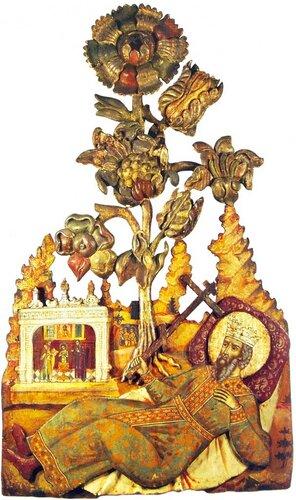 Святой равноапостольный князь Владимир. Конец XVII (?) - начало XVIII века. Происходит из церкви святого Власия в Ярославле. Дерево, темпера; резьба, роспись.
