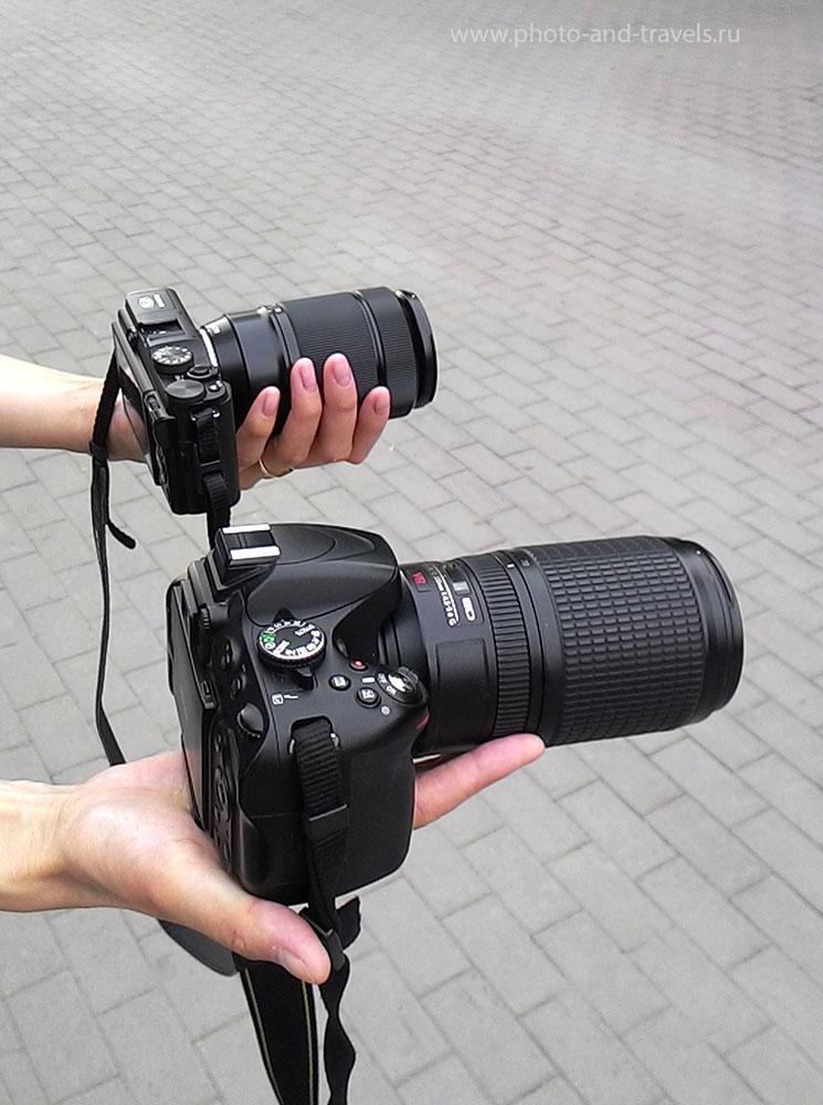 Фото 22. Сравним вес и размеры беззеркалки Fujifilm X-M1 с телевиком Fujifilm XC 50-230mm f/4.5-6.7 OIS и зеркального фотоаппарата Nikon D5100 с телеобъективом Nikon 70-300mm f/4.5-5.6G.