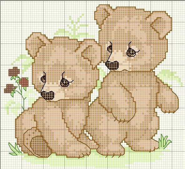 Схема для вышивания «Мишки»